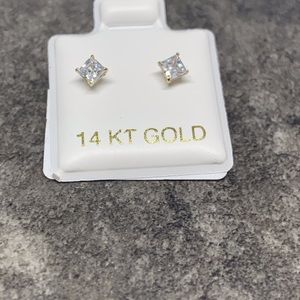 14 KT Gold Baby Earrings With Stones